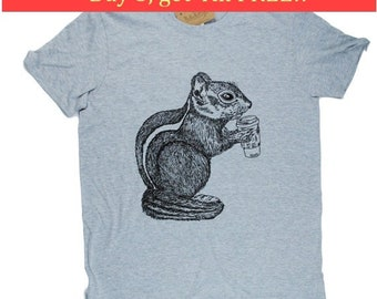 Mens TShirt - Coffee Drinking Chipmunk TShirt - Animal TShirts - Cool TShirts - Mens Funny T Shirt - Mens Funny Tees - Boyfriend Gift Idea