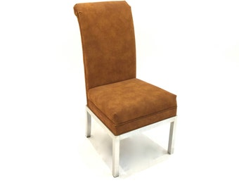 Vintage Modern Chrome Parsons Base Brown Suede Scrolled Back Dining Chair, Desk Chair