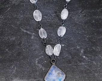 Rainbow moonstone necklace / moonstone necklace /moonstone pendant/rainbow moonstone pendant by Lolafae