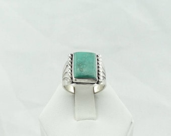 Vintage Navajo Native American Hand Made Sterling Silver and Green Turquoise Ring  #GREEN-SR1
