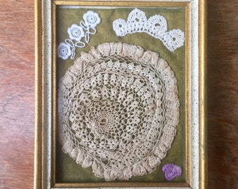 Crochet Display, Collection of Vintage Pieces in Frame