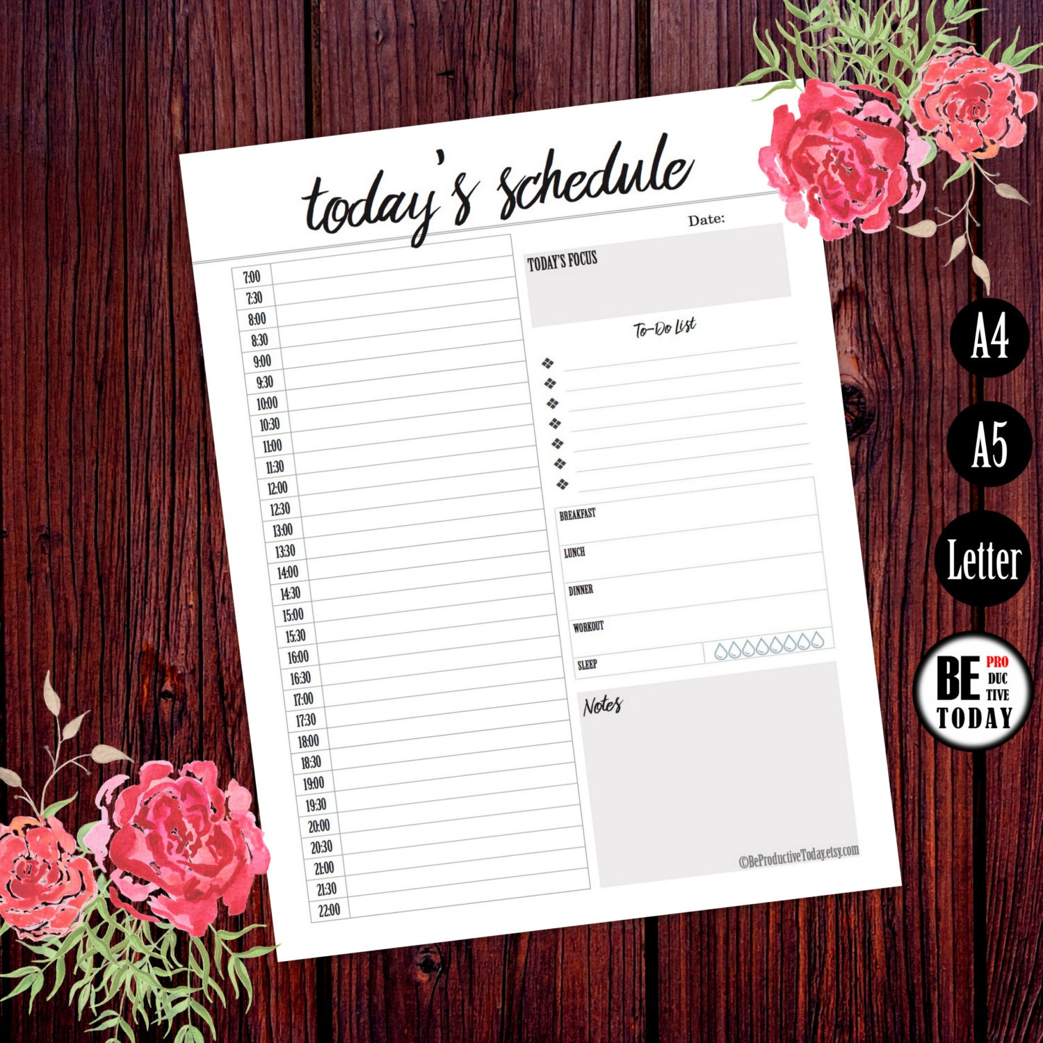 free printable hourly daily planner