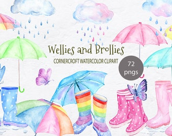 Wellies and brollies clipart, watercolor rain boots, umbrellas, clouds and rain drops, butterflies for instant download