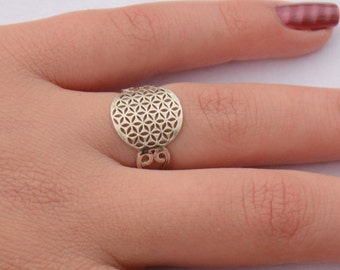 Flower of Life Ring, Sacred Geometry Ring, Tribal Ring, Sacred Geometry Jewelry, Ethnic Ring, Silver ring, Seed of life ring, Hand made