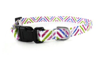 Purple multicolor herringbone dog collar, multicolor collar, purple herringbone collar, zigzag cat collar
