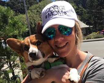 Corgi Mom, Dog Mom, Baseball Cap with Rescue Mom, Breed Mom Hat,  Embroidered with Paw Prints, Dog Mom Monogram Gift by Three Spoiled Dogs