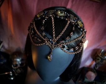 Copper & Amber Gypsy Head Crown