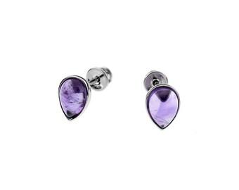 Amethyst ear studs on rhodium silver, amethyst, natural stone, earrings, gift, jewel amethyst, jewel of France