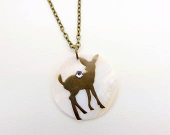 Deer Necklace, bambi Necklace, Fawn Necklace, shell necklace