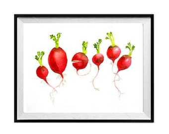 Radishes, Kitchen art Print, Vegetables, Art Sale, Watercolor painting, Botanical art, Red artwork, Gift for a Cook, Red kitchen wall art