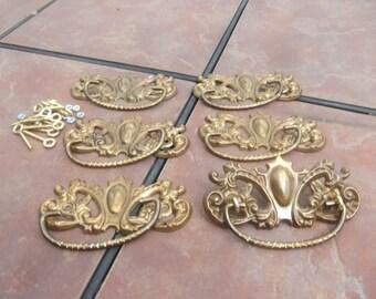 Set of 6 Large Fancy Antiqued Stamped Brass Drawer Handles