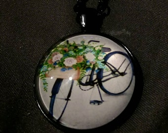 Bicycle and flower pendant Necklace