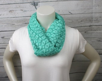Mint Green Lace Infinity Scarf, Green Lace Loop Scarf, Mint Green Accessory, Womans Mint Scarf, Womans Mint Green Scarf, Spring Loop Scarf