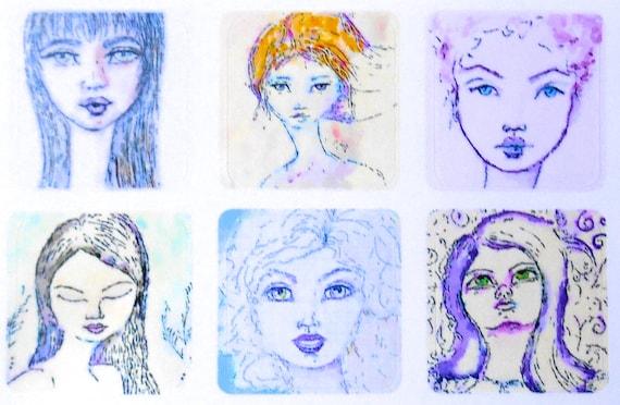 Mini Girls 1 - Fine Art Stickers