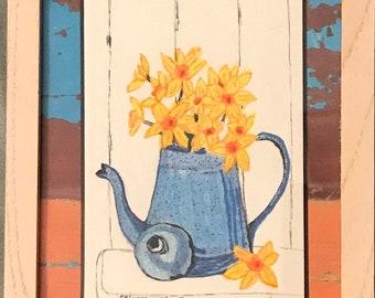 Daffodils in Blue Enamel