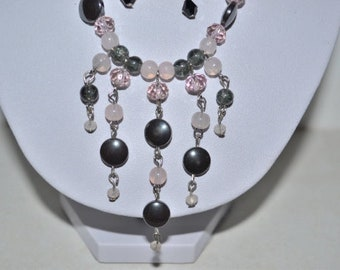 Gray and pink necklace with hematite beads