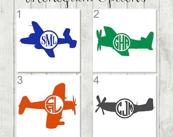 Airplane Monogram Decal, Airplane Decal, Boys Monogram Decal, Vinyl Decal