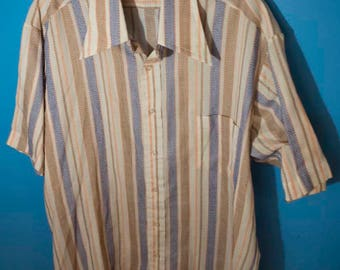 Men's Vintage Button Up Collared Shirt Sears Perma-Prest Large 16 Stripes Checks Blue Brown Orange White