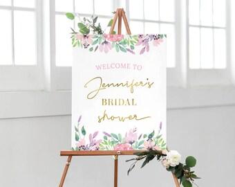 Floral Bridal shower sign, PRINTABLE Bridal shower welcome sign, Spring hens party sign bachelorette party decorations, kitchen tea sign pdf