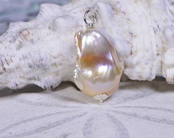 Baroque Pearl Necklace Sterling Silver Handmade Jewelry Freshwater Pearl Jewelry