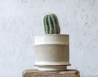 White Ceramic Planter, Small Ceramic Planter, Succulent Planter, Air Plant  Holder, Modern