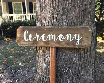 Ceremony Sign Wedding, Wooden Wedding Sign, Wood Signs, Wooden Signs, Rustic Wedding Sign, Wedding Arrow Sign, Wood Wedding Sign, Arrow Sign