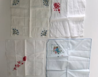 Vintage set of four hankies, floral embroidered hanky collection