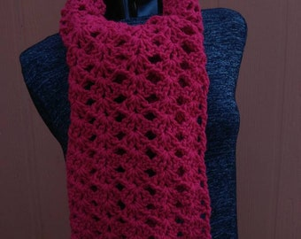 Hand crocheted wide scarf