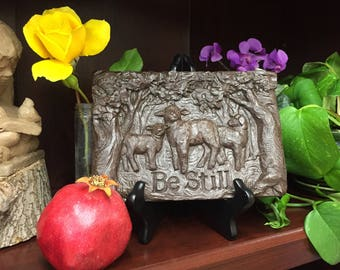 Be Still Sheep Black or Bronze Resin Bas Relief Sculpture Plaque