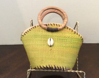 Small, Mini Basket Weaved Straw Bag Olive Green, Child's Handbag, Purse