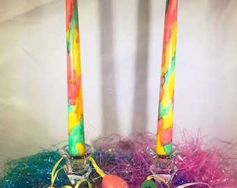 Easter Candles, Taper Candles, Alcohol Ink Candles, Spring Decor, Easter Table, Spring Colors