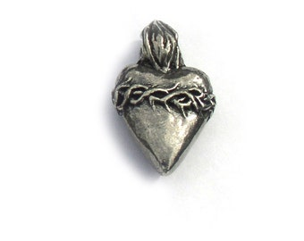 Sacred Heart Charm Green Girl Studios Pewter