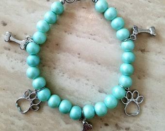 Sea foam pearl bracelet with dog paw charms