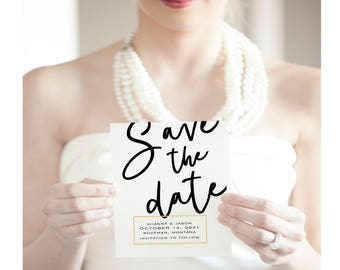 Printable Save the date Card, Save our date, Wedding Stationery, Calligraphy save the date Template, save the date cards