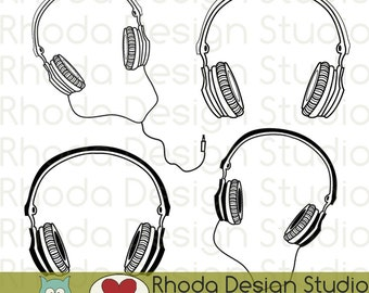 Music Headphones Digital Clip Art Retro Stamps
