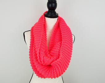 Bright Pink Infinity Scarf Hand Knit Blanket Scarf