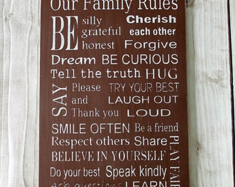Family Rules Sign, Wood Sign, Family Values Sign, Family Rules Art, Subway Sign, Rustic Wood Sign, House Rules