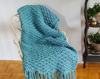 SALE Gorgeous handmade throw blanket afghan fringes oversized bulky throw gift for women gift idea teal turquoise throw blanket for her gift