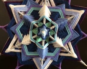 The chariot (Merkava) of God - 12 pointed star mandala (god's eye / ojo de dios)  - 11.5 inch/29 cm