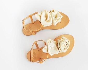 Ivory Sandals , Bridal Sandals , Wedding Sandals , Bridesmaid Sandals , Leather Sandals , Greek Sandals , Champagne Sandals , Rustic Wedding
