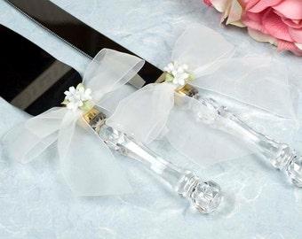 Porcelain Stephanotis Bouqet Wedding Cake Server Set - Custom Engraving Available - 55725S