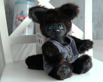 Wolf teddy toy OOAK artist teddy bear artist bears stuffed animal doll collectible handmade small black soft