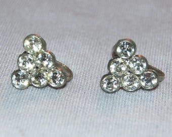Rhinestone Earrings, Sparkling Clear Screw Back, Vintage old jewelry