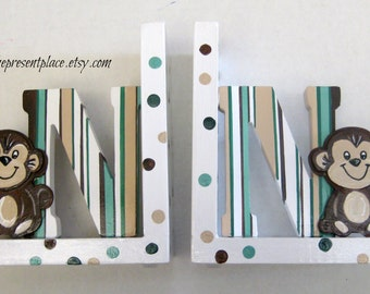 personalized bookends,monkey bookends,letter bookends,monkeys,polka dots and stripes,boys bookends,childrens bookends,kids bookends,boy gift