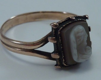 14K Rose Gold Victorian Cameo Ring size 7.5