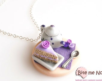 Mini Food Tea Time Table with Pastry Necklace, Cake Necklace, Pastry Necklace, Miniature Food, Clay Sweets, Food Jewelry, Kawaii Jewelry