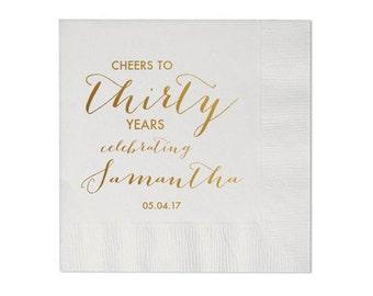 Personalized Birthday Napkins Cheers to Years 30th 40th 50th 60th 70th 80th 90th 100th Birthday 60 & Fabulous Custom Napkins Monogram