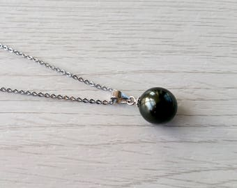 Authentic pearl necklace, sterling silver, single pearl necklace, black pearl necklace, genuine pearl necklace, simple pearl necklace