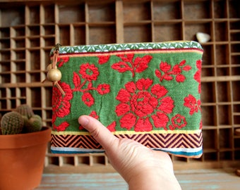Ethnic boho style zipper pouch in floral fabric, Large makeup bag, Hippie chic cosmetic bag, Boho travel pouch, Mothers day gift, Zipper bag