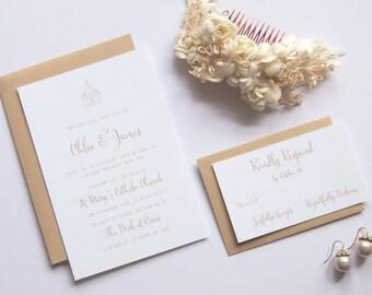 CHLOE Wedding Suite - SAMPLE - Wedding Invitation, Gold Wedding Invite, Church Wedding Invitations, Wedding Invites - Beautiful Script